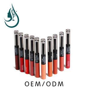 Private Labels Lip Gloss Double Heads Liquid Lip Gloss + Transparent Lip Oil Waterproof Long-lasting 24 Colors