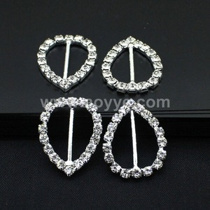 Wholesale double heart clasp diamante rhinestone buckles/crystal invitation ribbon slider coats wedding chair sash