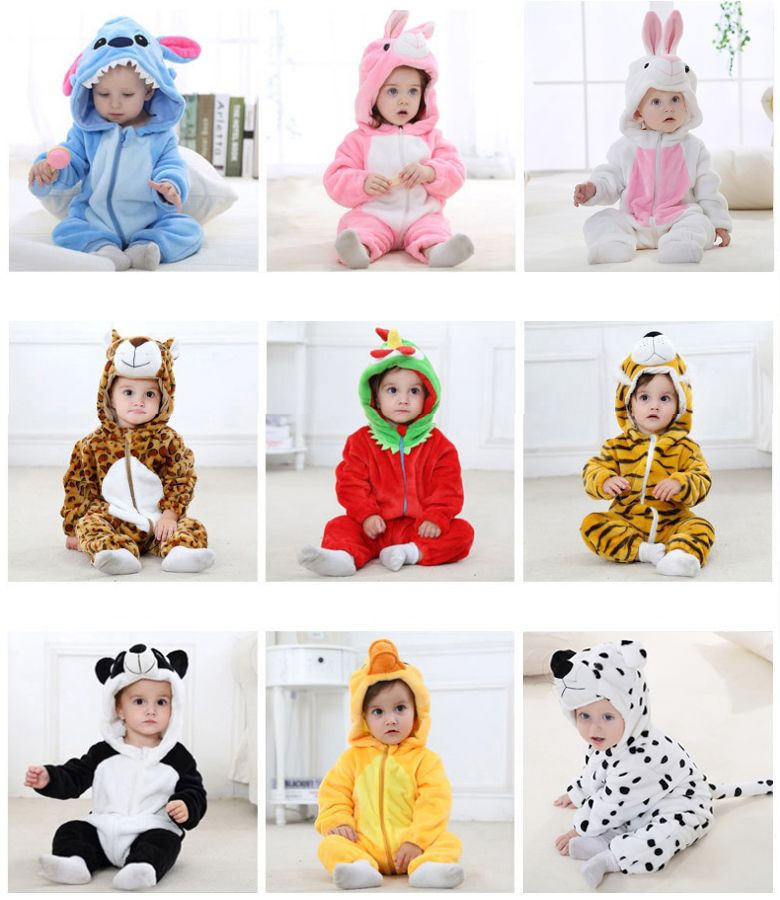 Newborn Flannel Baby Rompers Toddler Overalls Bebe Boys Girls Hooded Jumpsuit Animal Christmas Halloween Costumes Baby Clothes