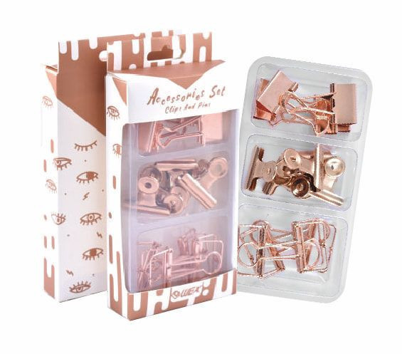 Rose Gold Assorted  Paper Clips Push Pins Binder Clips