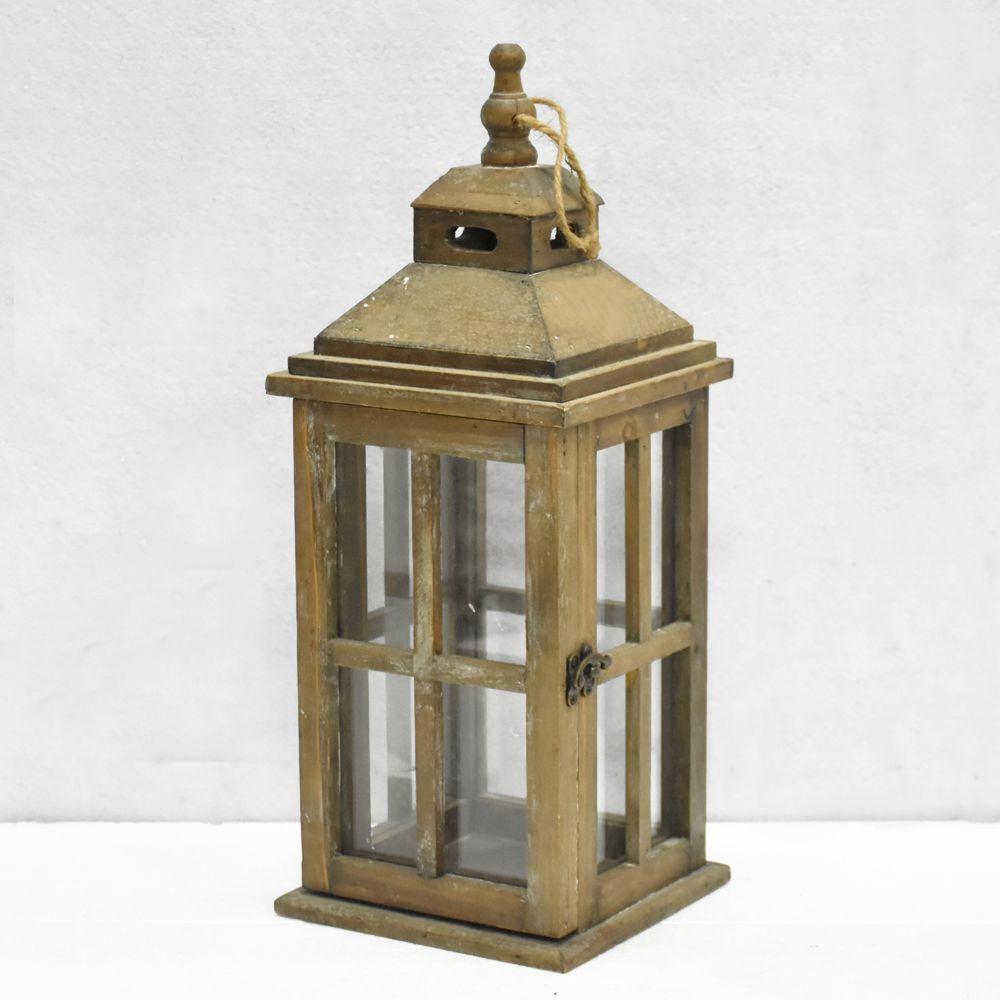 Rustic Brown Candle Lantern, garden wooden lantern & wholesale lanterns