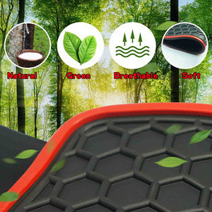 5pcs Heavy Duty Rubber Luxury Car Mats Vehicle,SUV Carpet Odorless-Black Red, All Weather Floor mats