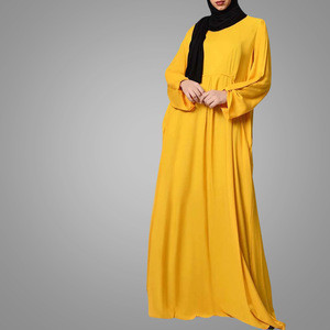 Casual Loose Kaftan Islamic Clothing Abaya Muslim Dress Long Sleeve With Hook Arab Islamic Clothing