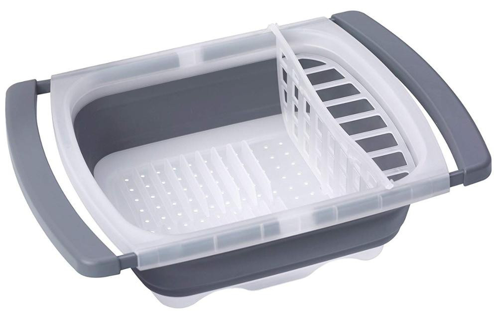 Collapsible Plastic Dish Rack with Drain Board  dish drying rack