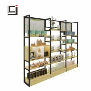 Cosmetic display rack beauty care shelf low price steel-wood structure shelf display