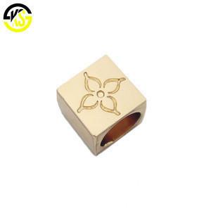Cube shape making custom logo brand metal cored end stopper for swimwear