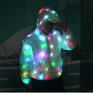 Factory sale Leisure sports Wears Luminous Clothes Colorful LED coat Costume Washable light up led jacket