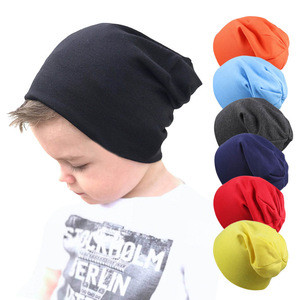 Hip Hop style baby knitted hat spring, autumn and winter warm children's pure color hat