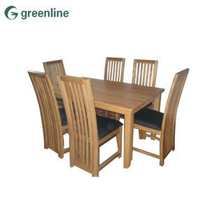 Oak finger joint panels solid oak dining table wood and 6 chairs