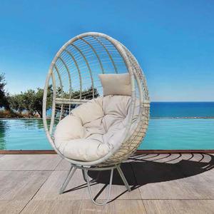OC031 - Black hanging patio swing egg shape swing and orange waterproof cushion for garden furniture