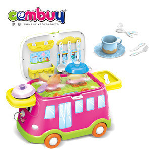 Pretend play colour cart plastic toys cooking kitchen sets for kids