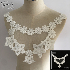 Sewing clothing Accessory fine white hollou out Lace fabric Dress Applique motif blouse DIY neckline collar Costume Decoration