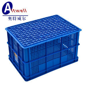 Stackable mesh plastic turnover crate