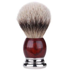 Traditional Luxury Brown Handle Badger Hair Men Beard Shaving Brush With Box For Custom Logo