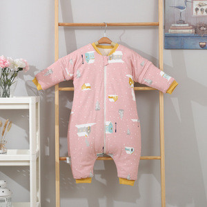 Wholesale autumn and winter split-leg baby sleeping bag  with multi-pull head design