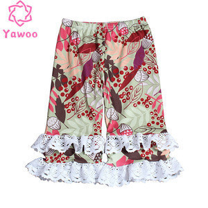 Yawoo new arrival baby girls long printed lace ruffled trousers kids wholesale ruffle pant