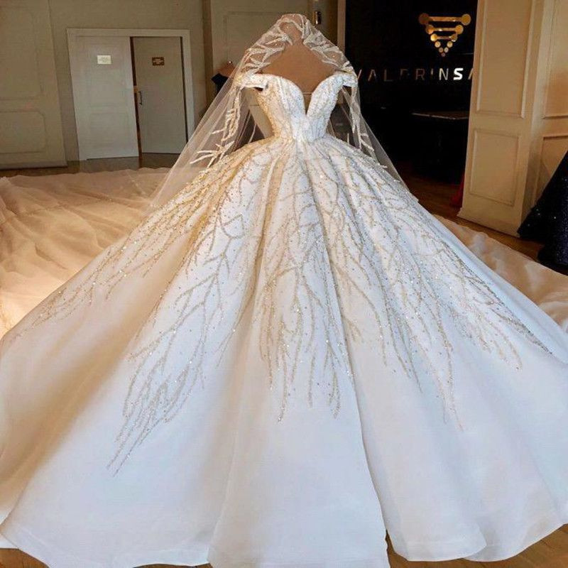 Luxury Cathedral Train Ball Gown Wedding Dresses Robe De Mariee Gorgeous Crystals Beads Wedding Gowns Vestido De Noiva