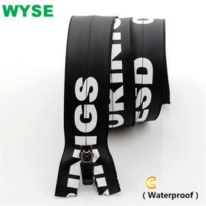 5# Custom Logo Semi-Rubber Puller Nylon Waterproof Open End zippers
