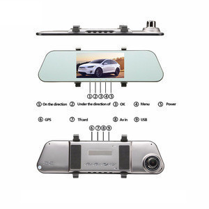 "5"" Fhd 1080p Front Rear Dual Lens Manual Firmware Rearview Mirror Car Camera Recorder Video GPS Black Box"