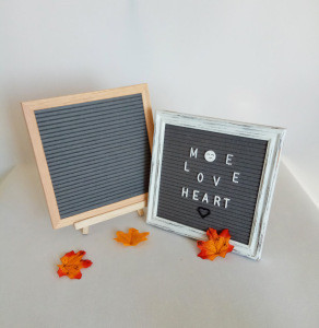 Advertising Board 10*10inch Oak Frame Grey Felt Letter Board with 340 Letter with Stand and Metal