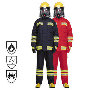 Factory Supply EN469 NFPA1971 Navy Dupont Nomex Twill Shell 4 Layers Fire Fighter Fireman Fire Fighting Firefighter Uniform