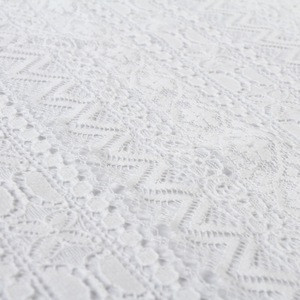 High quality factory nylon cotton dyed mesh lace knitting fabric for white dress cloth