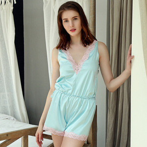 LOW MOQ Silk Satin Sexy Women Sleepwear Babydoll