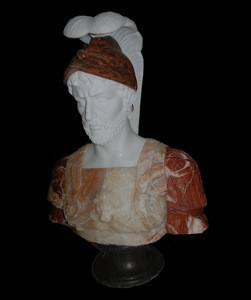 Male in War Suit and Armor Male Marble Bust Statue NSMB1853