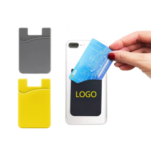 New Arrival ecofriendly fashion creative custom logo design 3M adhesive credit card holder silicone mobile phone card holder