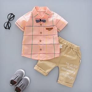 Soft hot sale summer children's wear pattern short T-shirt +pants baby boy suit two pieces children clothing baby clothes set