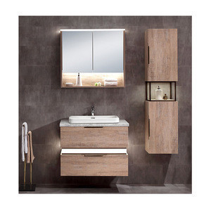 Wholesale Luxury OEM Design 30 Inch Hotel Furniture MDF LED Wall Hung Modern Bathroom Vanity Cabinet Set