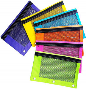 Zippered Pencil Pouch 3 Ring Pencil Case with Mesh and  Plastic Window for Classroom use