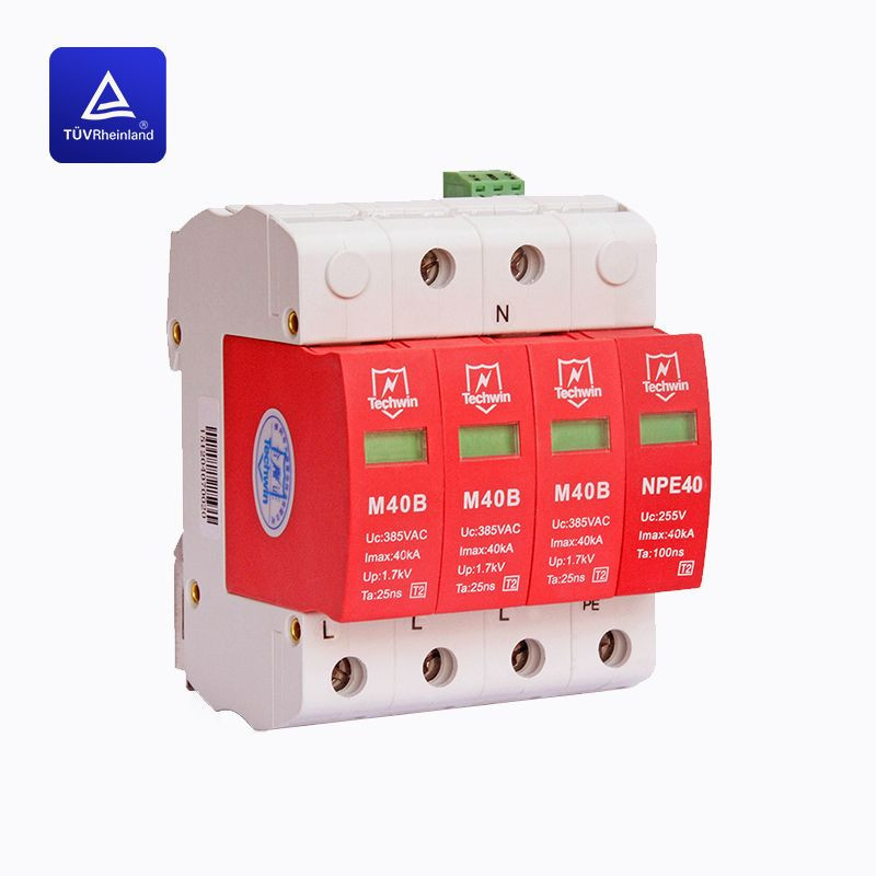 DIN rail 40kA Class C surge protection device(SPD)TUV certificated for Three-phase 380V AC system