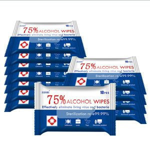 Portable 10pcs small pocket Wet Wipes Sanitizing Wipes 75% Alcohol Wipes