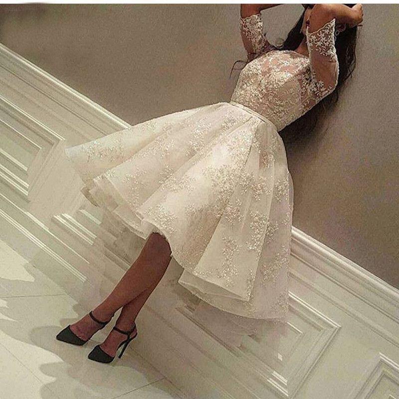 Fashion Ivory Short Prom Dress Lace Applique Beads Half Sleeve Knee Length Dubai Arabic Short Cocktail Dress Party Gowns
