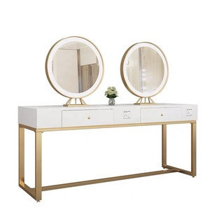 4 Seats LED light smart eyebrow threading station makeup mirror  table  and salon furniture  barber station mirror