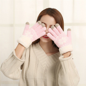 Autumn and winter new thick warm gloves with touch screen plus cashmere snowflake pattern ladies hand gloves