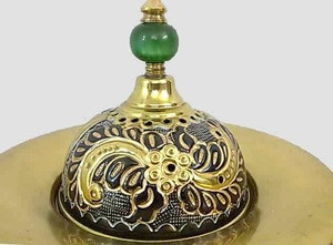 B143 Three Pieces Floral Brass Etched Arabic Brass Incense Burner