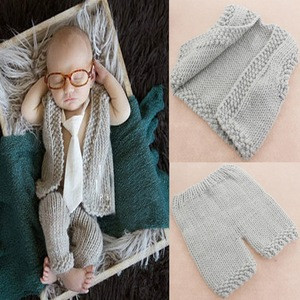 Baby Shower Gift Newborn Baby Crochet Knitted Photography Props Lovely Winter Cotton Baby Waistcoat And Pants Outfits Vest