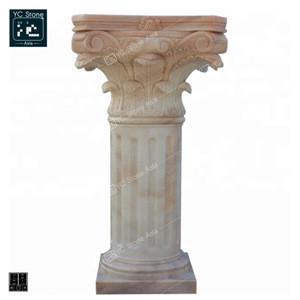 Beautiful Granite Stone European Style Design Carving Decoration Burnishing Column White Solid Pillars for Landscape
