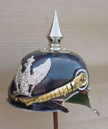 BLACK LEATHER GERMAN HELMET SPIKE WITH CHIN STRAP INNER LINING