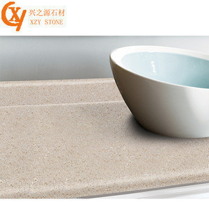 High quality, cheap and customizable beige artificial stone kitchen countertops