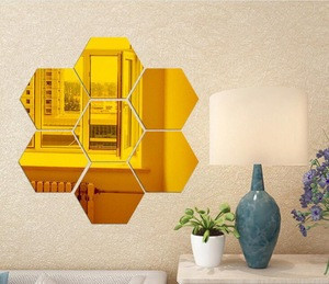 Home Wall Decoration hexagon Mirror Sticker