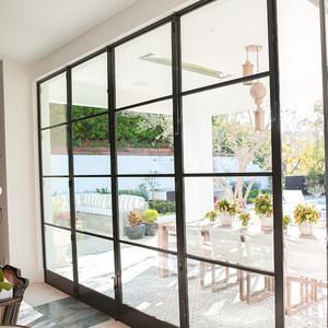 Latest house new burglar window proof aluminium metal sliding french window grill french doors window design