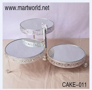 Mirror cake stand crystal cupcake stand 3 tires decorative folding wedding silver cake stand for party birthday shower(CAKE-011)
