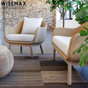Modern Patio Villa Garden Rattan Sofa Chair Luxury Teak Wood Outdoor Weaving Rattan Sofa Set With Coffee Table