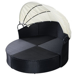 Patio Furniture Outdoor  Garden Round with Retractable Canopy Wicker Rattan Round Daybed