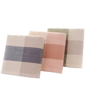 Plain plaid towel 100% cotton one side gauze one side wool ring pure cotton towel adult face towel