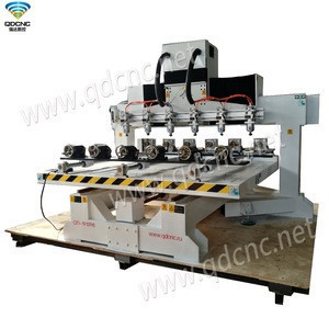 Professional Wood Cylinder CNC Lathe Machine with 8 rotary axis QD-2512R8