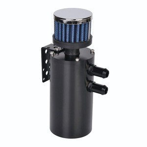 Universal 0.3L Billet Aluminium Engine Motor Oil Catch Canister with Stainless Steel Mesh Internal Filter 12mm 15mm 19mm Black